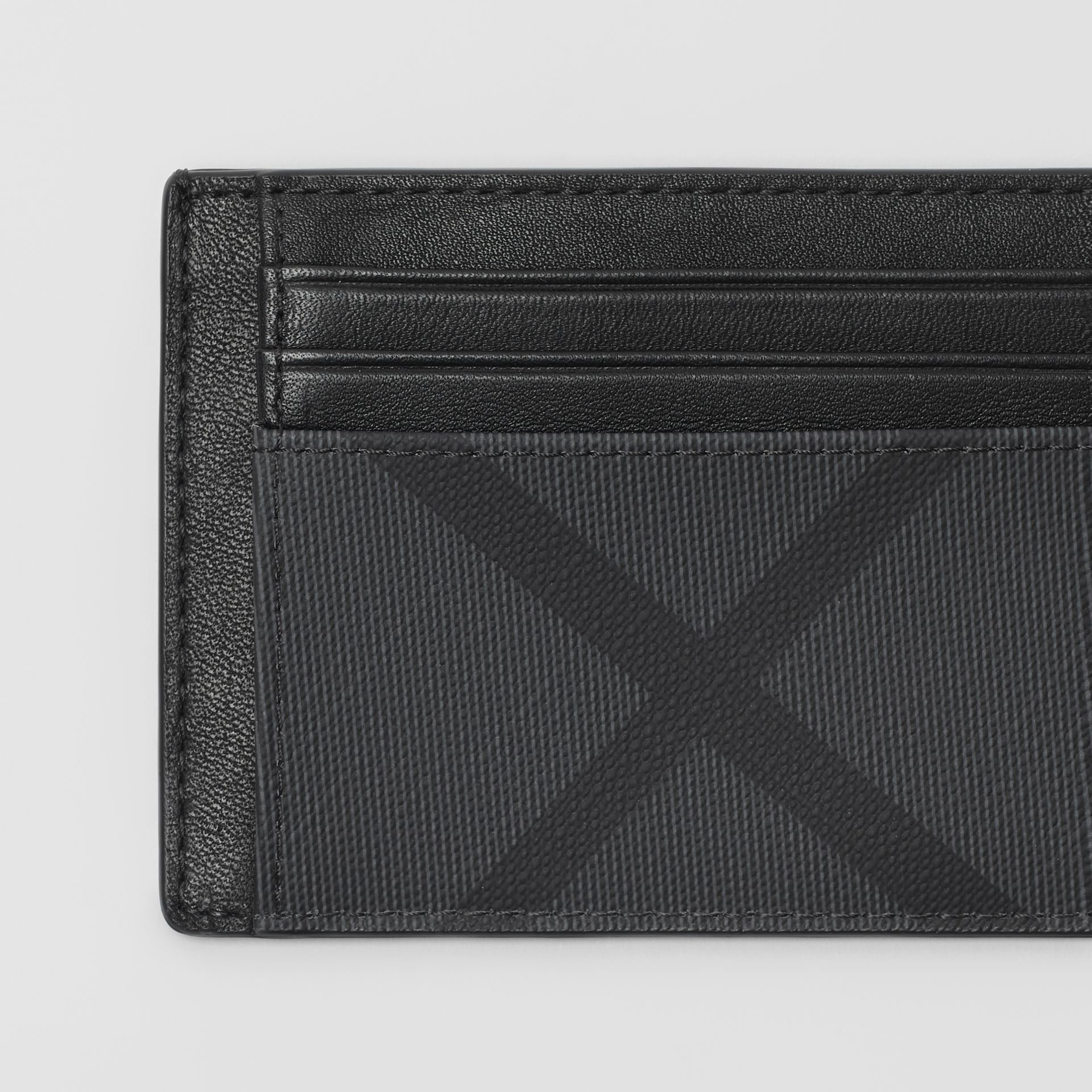 London Check and Leather Card Case in Charcoal/black - Men | Burberry Australia - gallery image 1