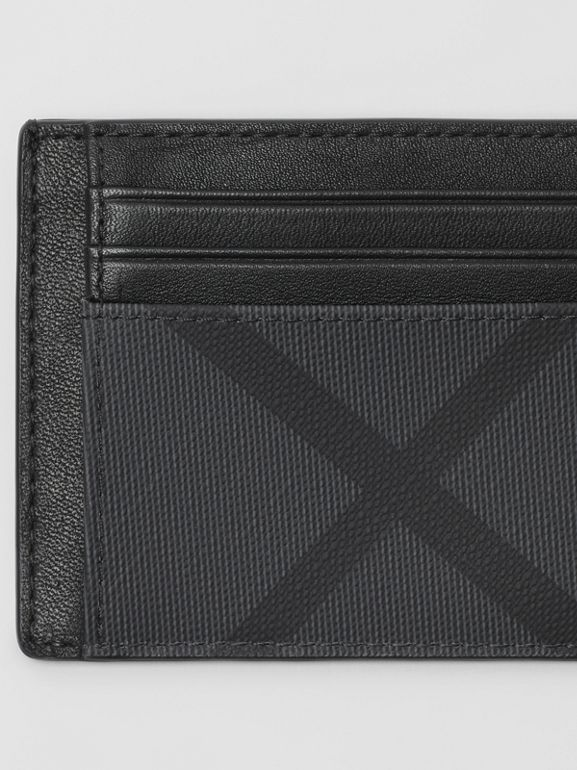 London Check and Leather Card Case in Charcoal/black - Men | Burberry Singapore - cell image 1