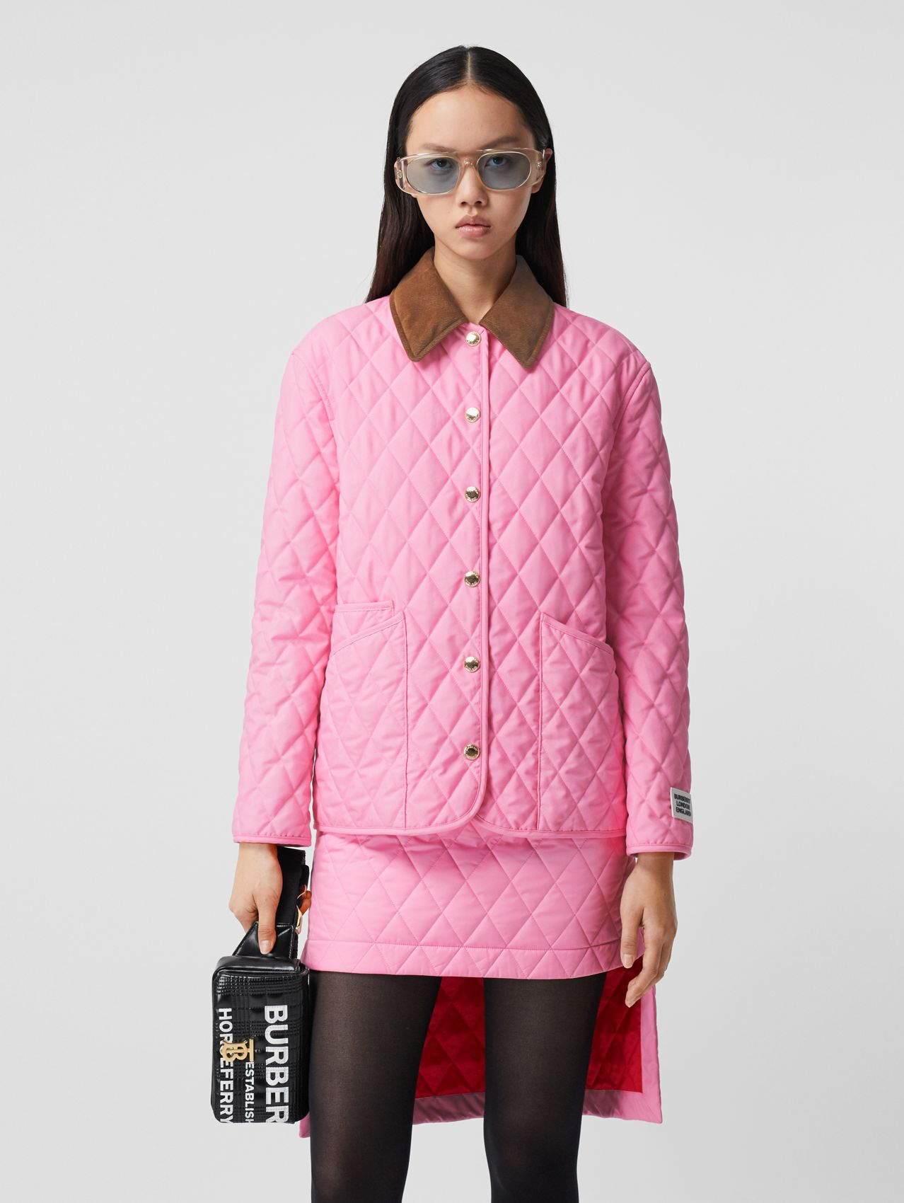 Corduroy Collar Diamond Quilted Jacket (Bubblegum Pink)