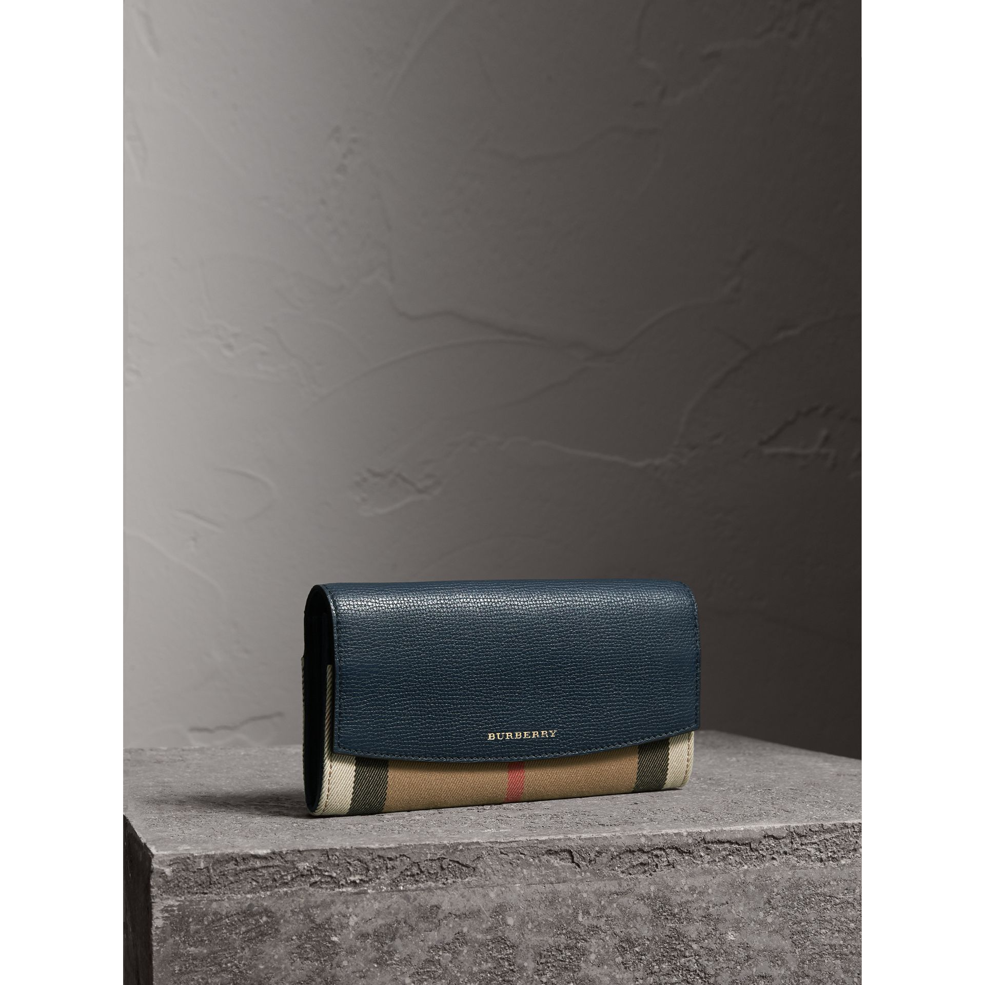 House Check And Leather Continental Wallet in Ink Blue - Women | Burberry United Kingdom - gallery image 1