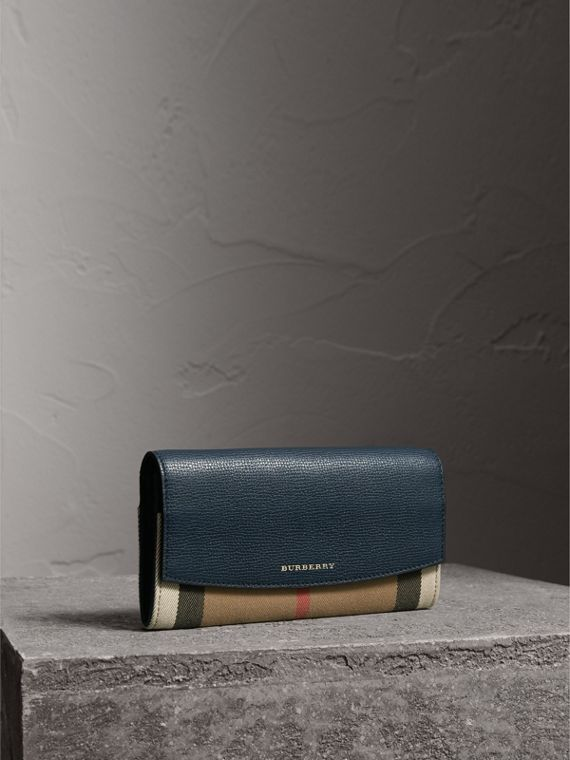 House Check And Leather Continental Wallet in Ink Blue - Women | Burberry