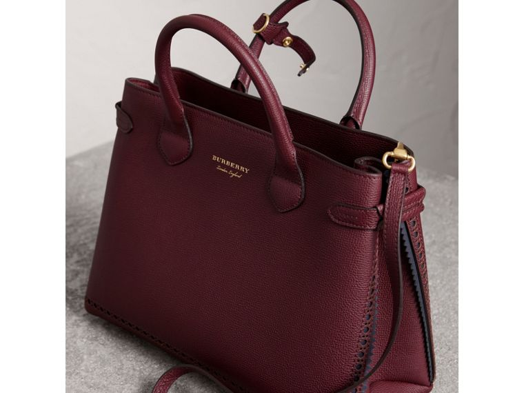 The Medium Banner in Leather with Fringed Pocket in Mahogany Red - Women | Burberry United States - cell image 4