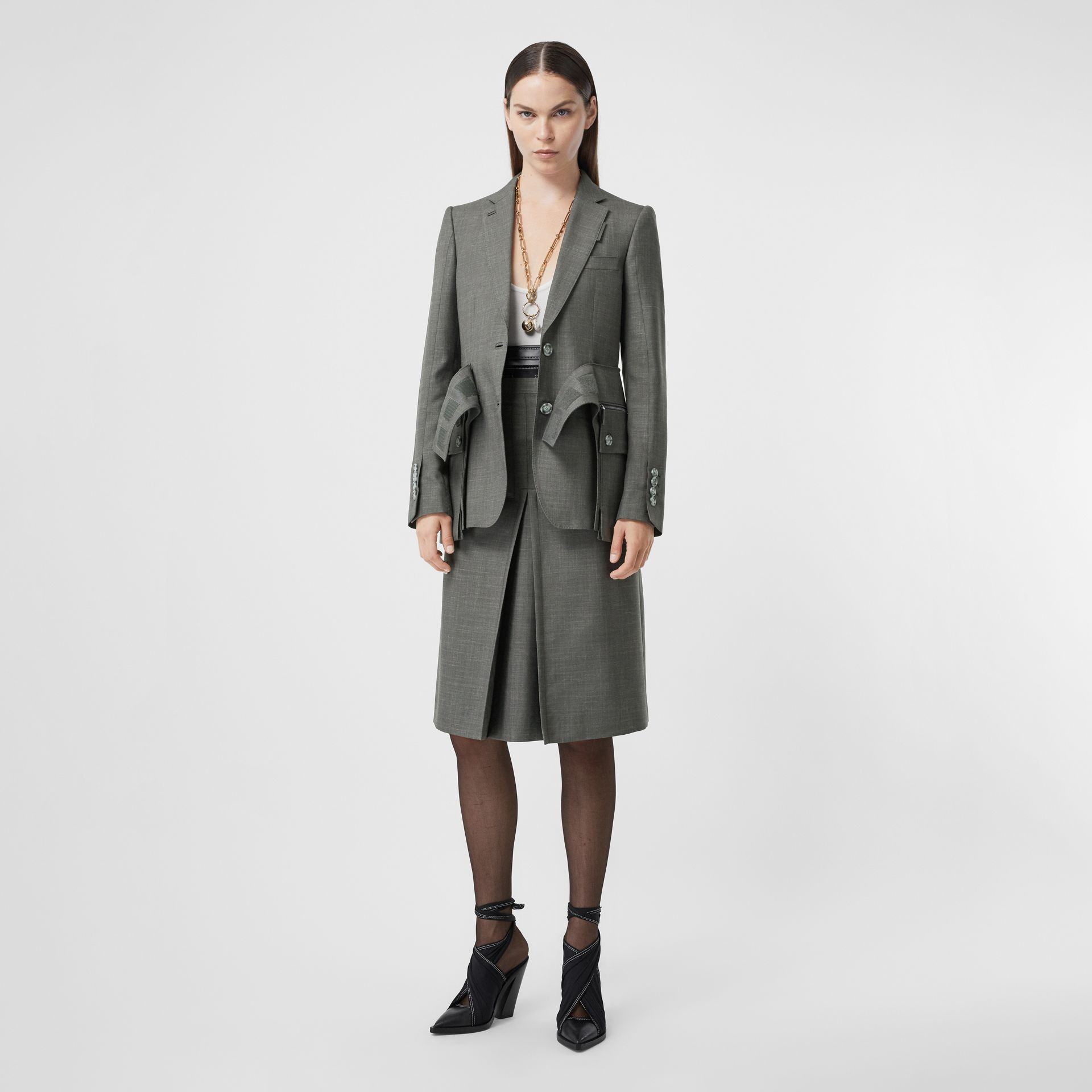 Cargo Belt Detail Wool Silk Mohair Linen Blazer in Charcoal Grey - Women   Burberry - gallery image 0