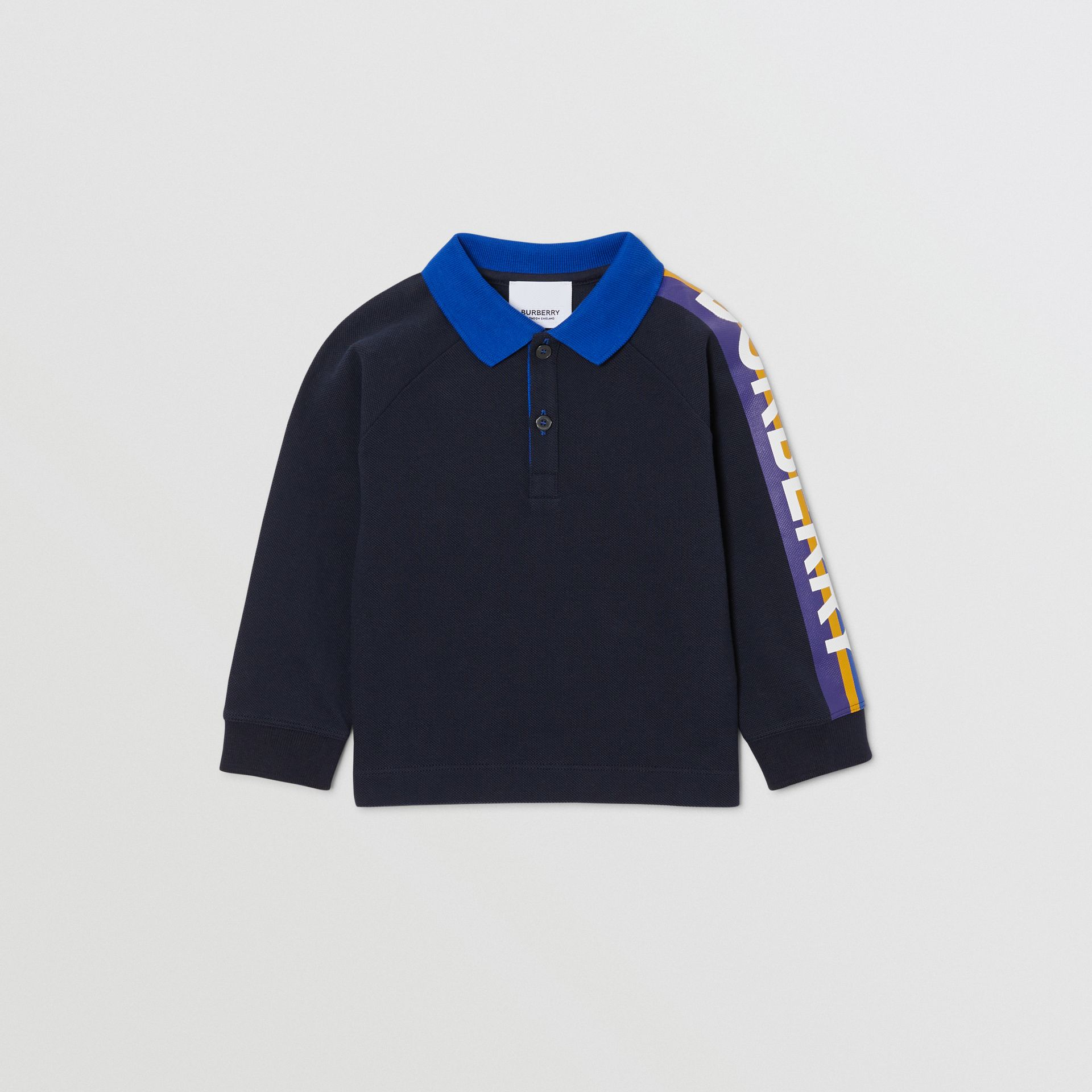 Long-sleeve Logo Print Cotton Polo Shirt in Navy - Children | Burberry - gallery image 0