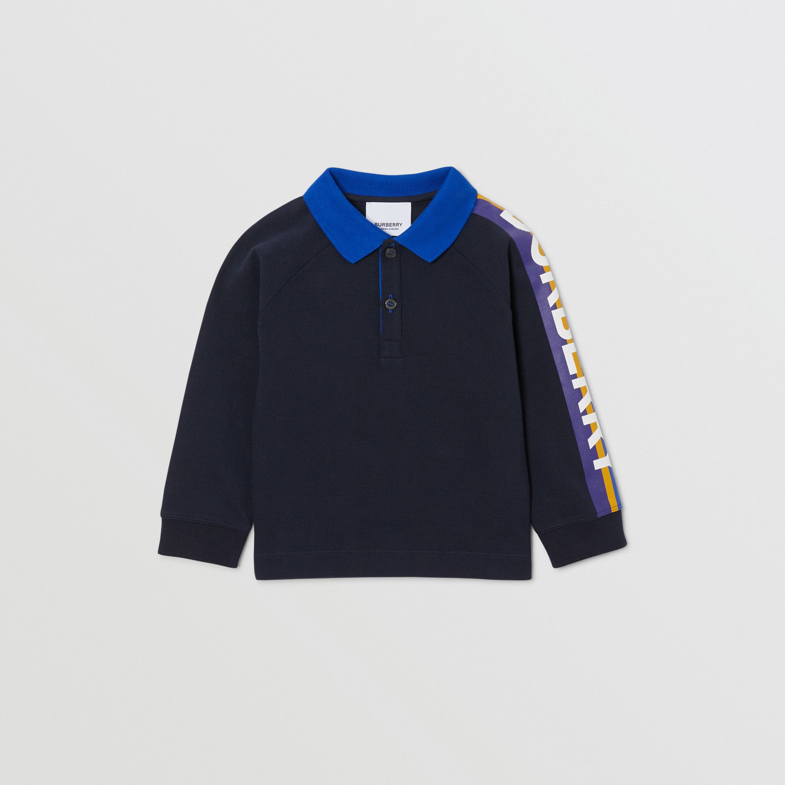 Long-sleeve Logo Print Cotton Polo Shirt in Navy - Children | Burberry - 1