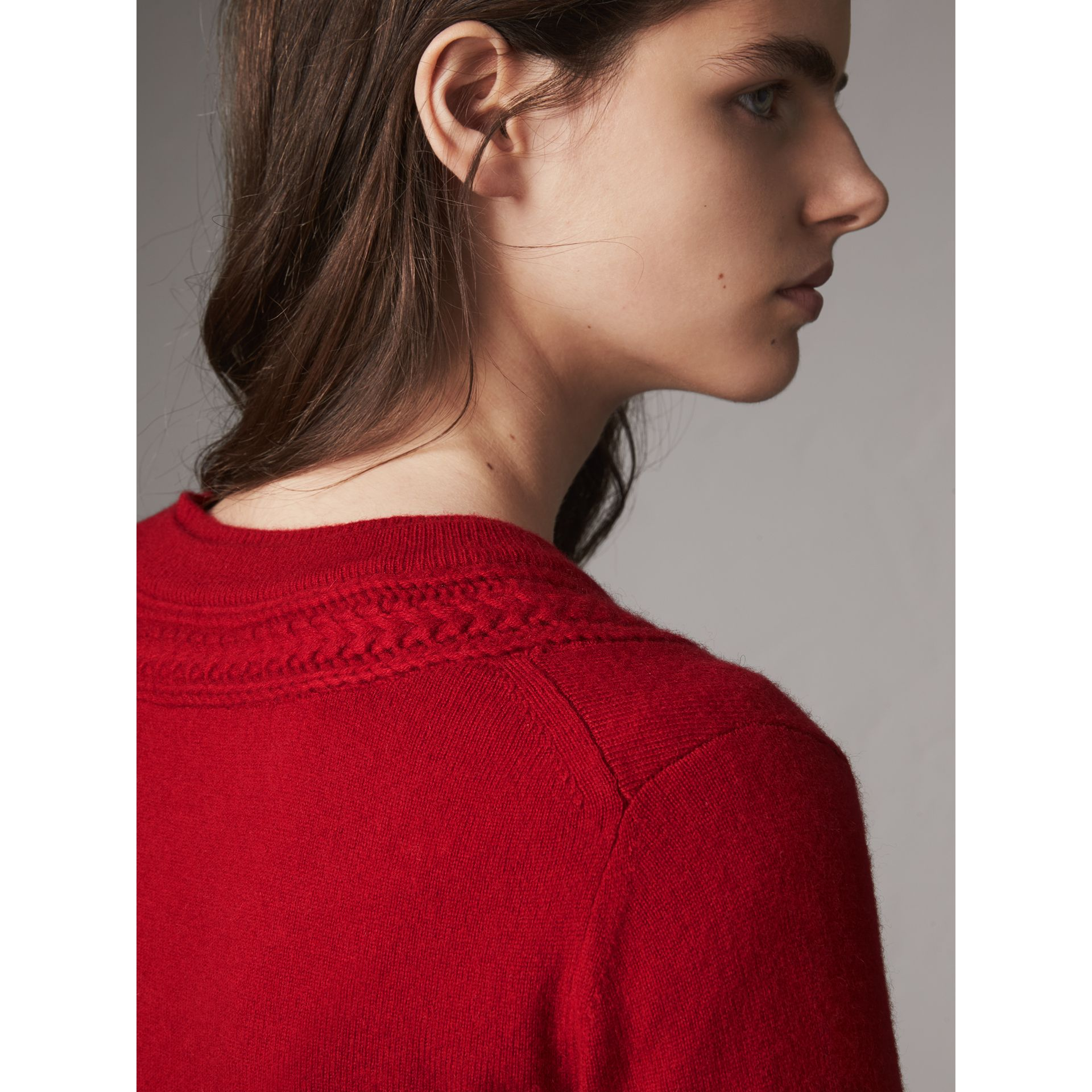 Cable Knit Yoke Cashmere Sweater in Military Red - Women | Burberry - gallery image 5