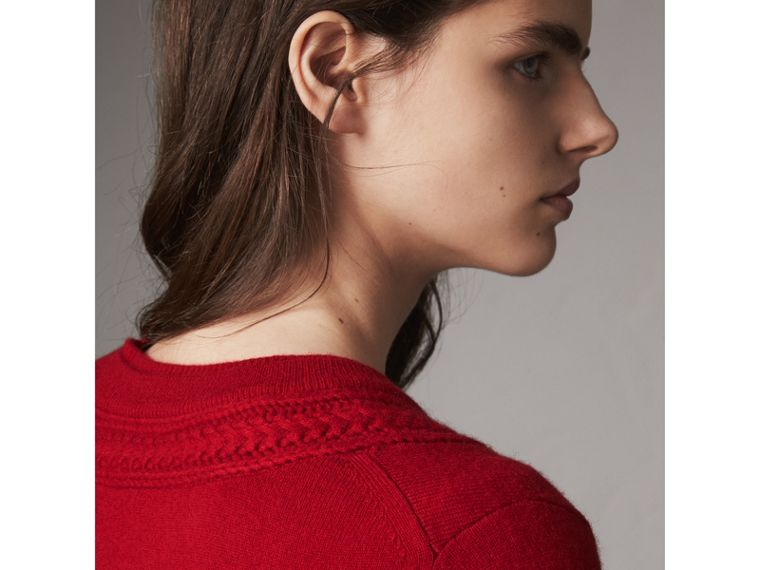 Cable Knit Yoke Cashmere Sweater in Military Red - Women | Burberry - cell image 4