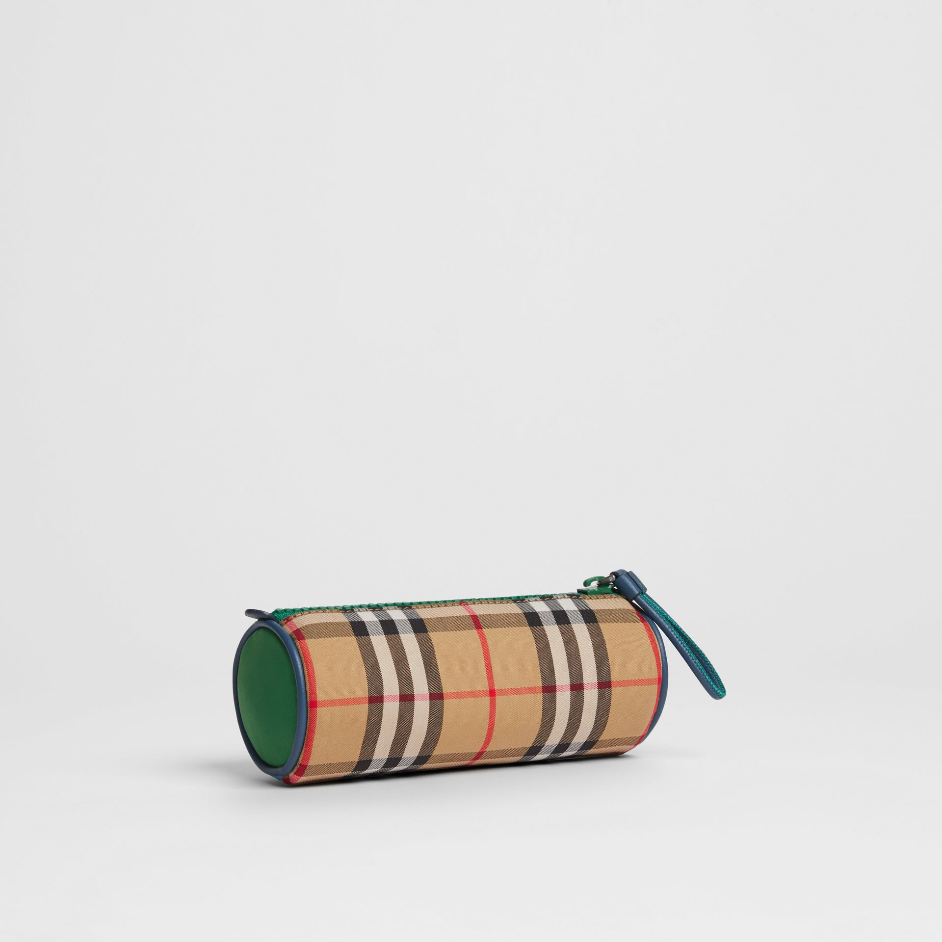 Vintage Check and Leather Pencil Case in Antique Yellow | Burberry - gallery image 0