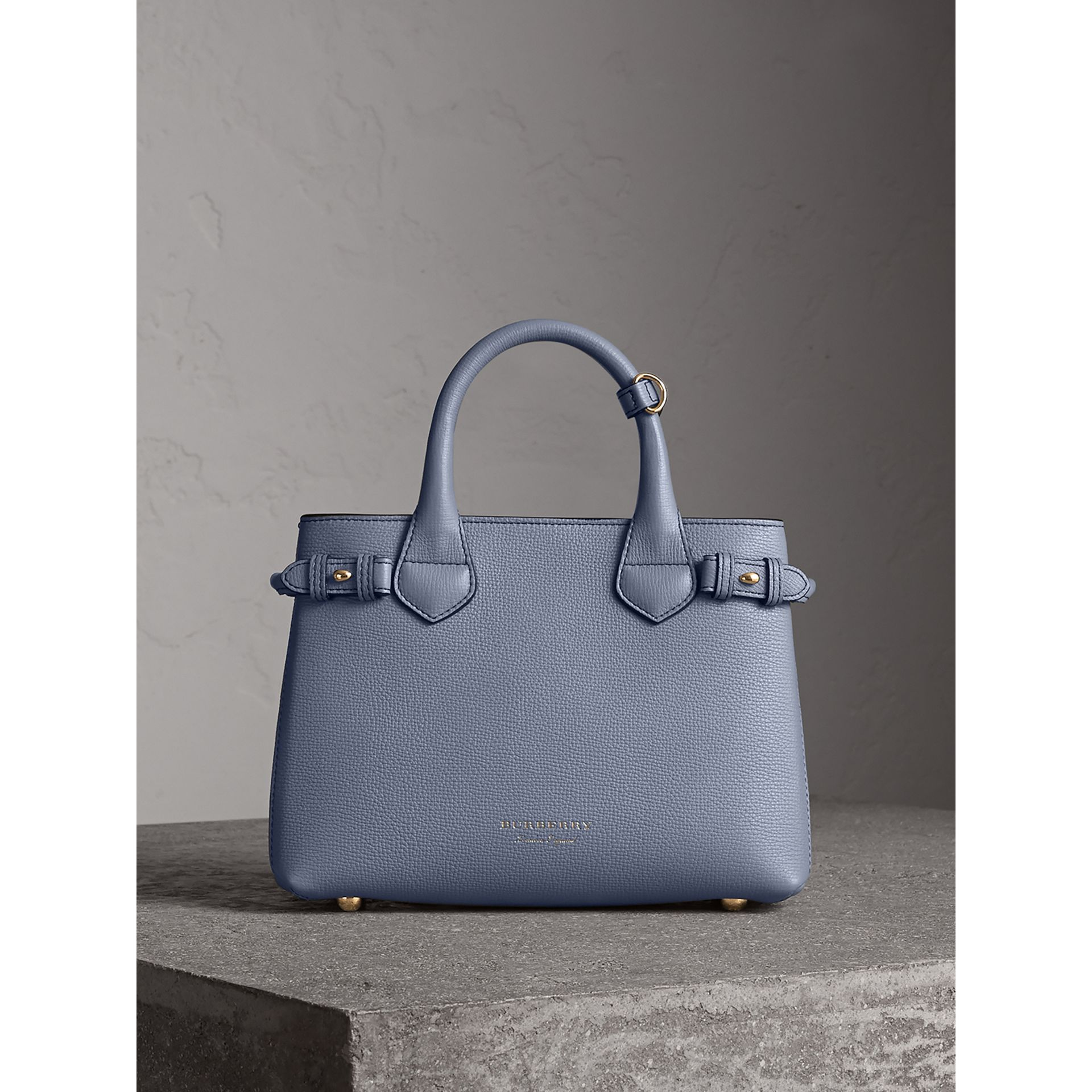 The Small Banner in Leather and House Check in Slate Blue - Women | Burberry - gallery image 7