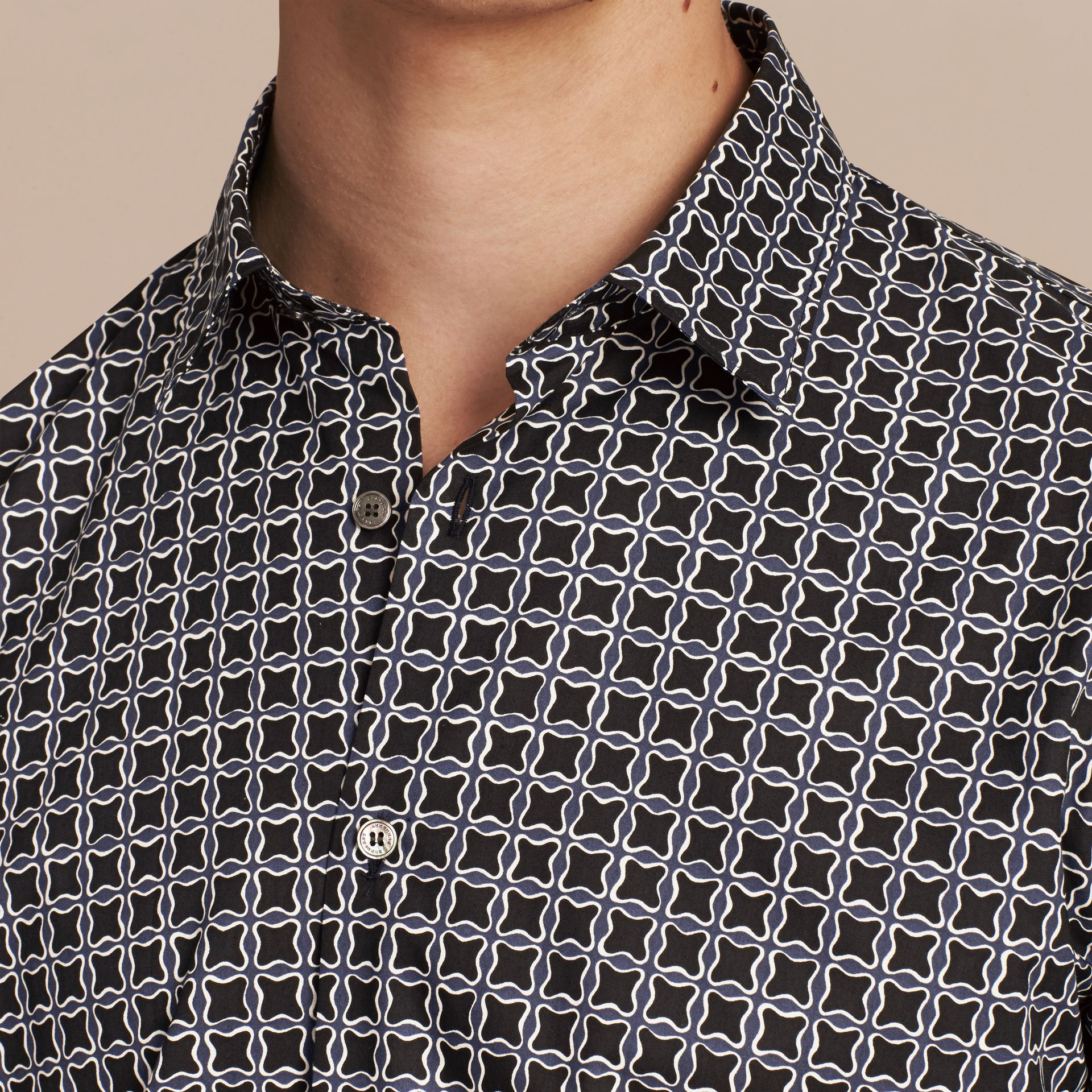 Navy Modern Fit Tile Print Cotton Shirt - gallery image 5