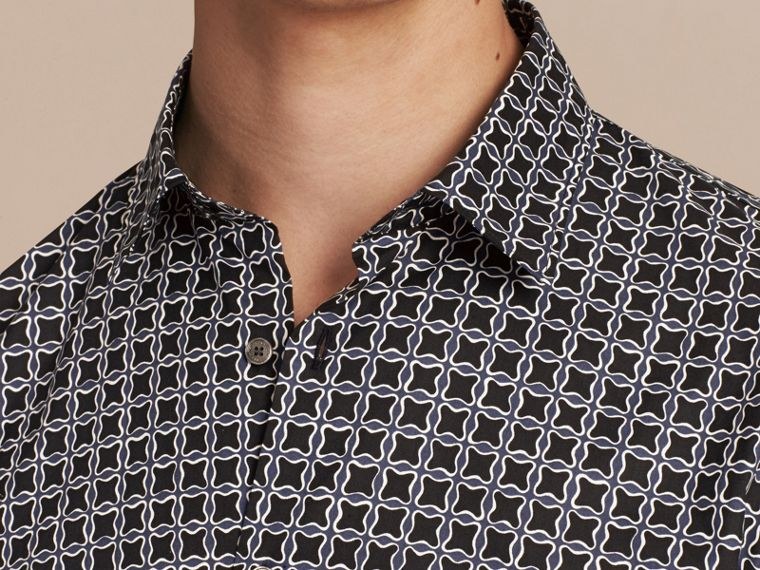 Navy Modern Fit Tile Print Cotton Shirt - cell image 4