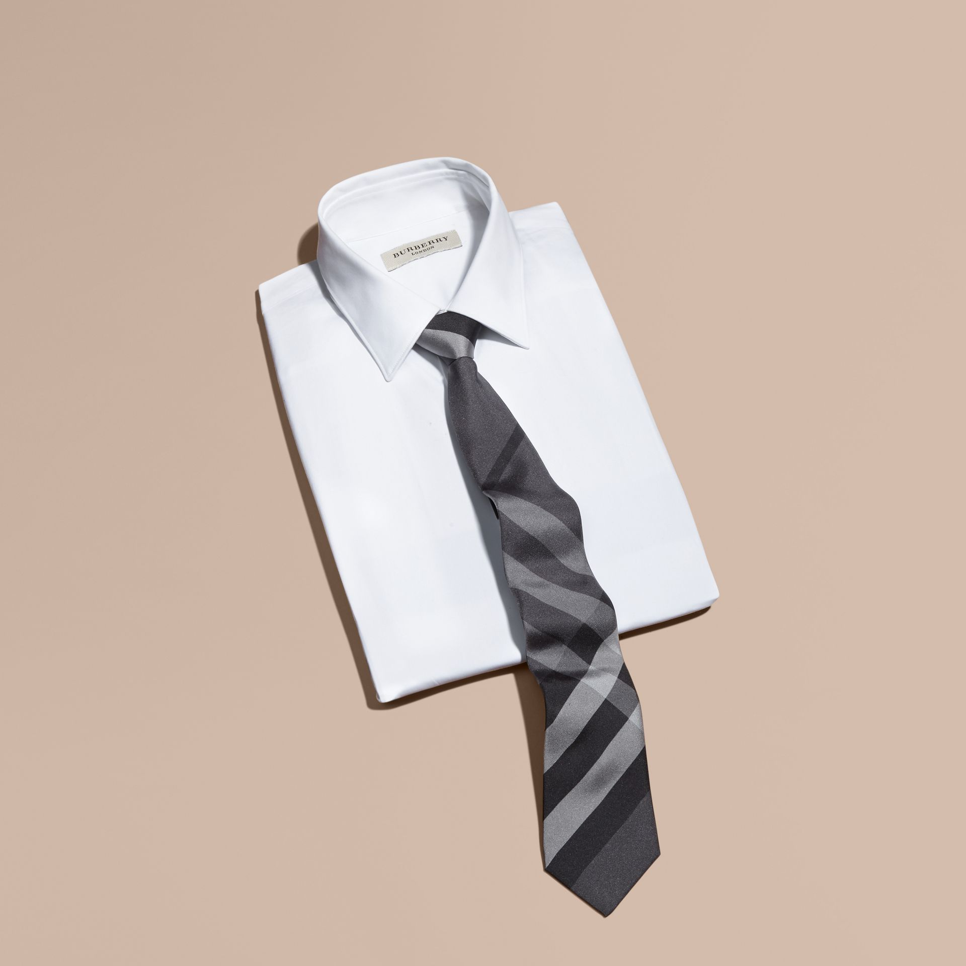Dark charcoal Modern Cut Beat Check Silk Tie - gallery image 4