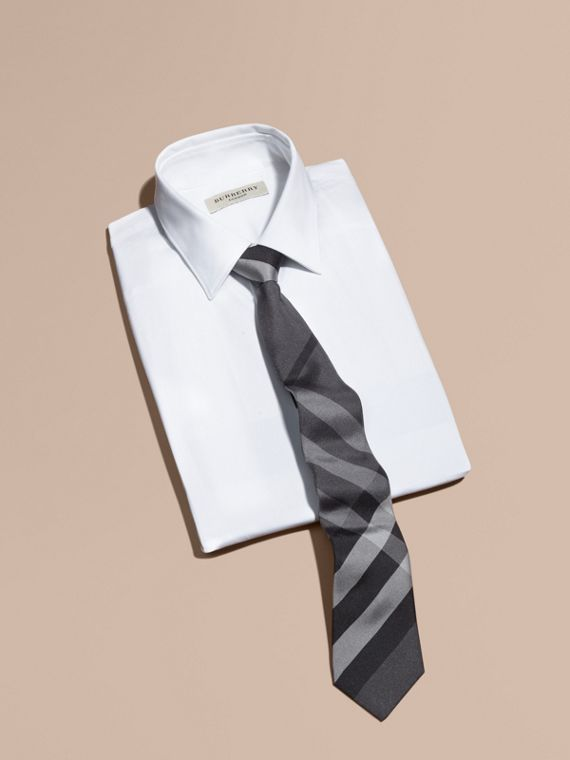 Modern Cut Beat Check Silk Tie in Dark Charcoal - Men | Burberry - cell image 3