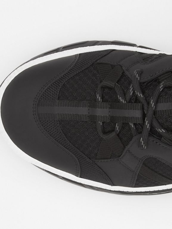Mesh and Nubuck Union High-top Sneakers in Black - Men | Burberry United Kingdom - cell image 1