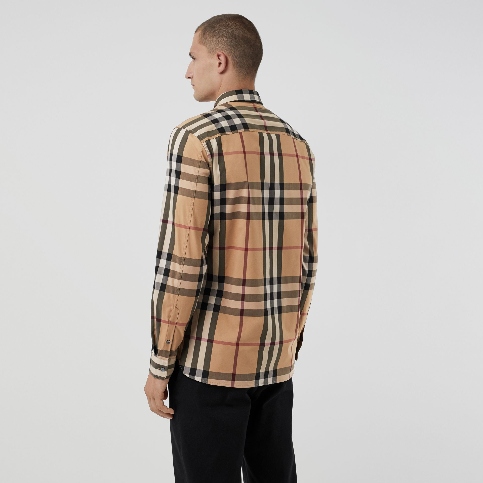 Check Stretch Cotton Shirt in Camel - Men | Burberry Australia - gallery image 2