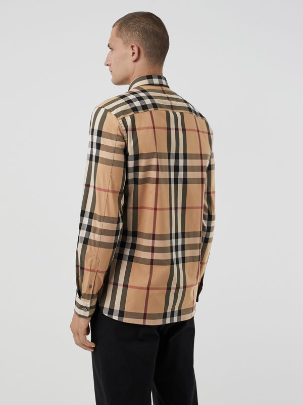Check Stretch Cotton Shirt in Camel - Men | Burberry Hong Kong S.A.R - cell image 2