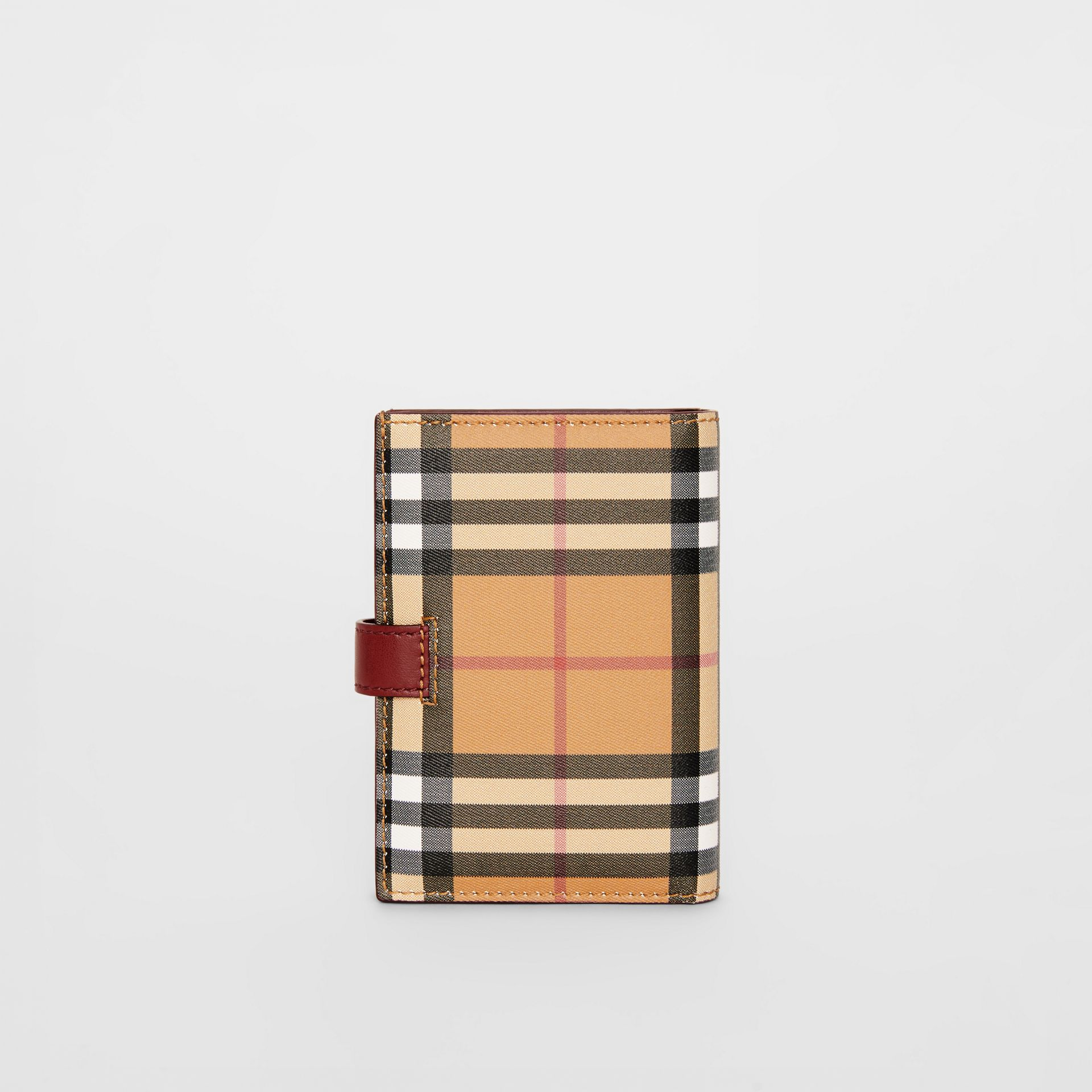 Vintage Check and Leather Folding Wallet in Crimson - Women | Burberry - gallery image 2