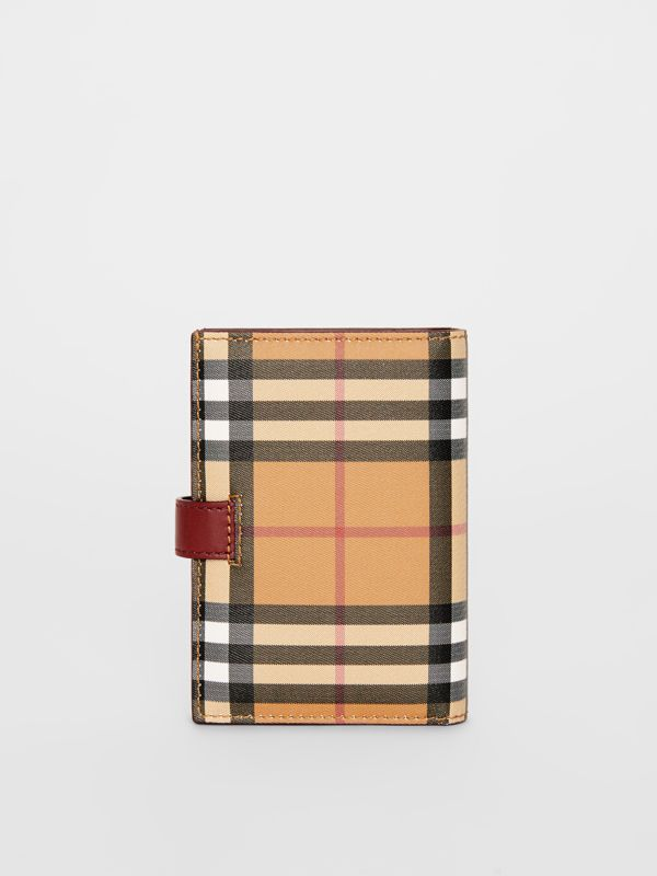 Vintage Check and Leather Folding Wallet in Crimson - Women | Burberry - cell image 2