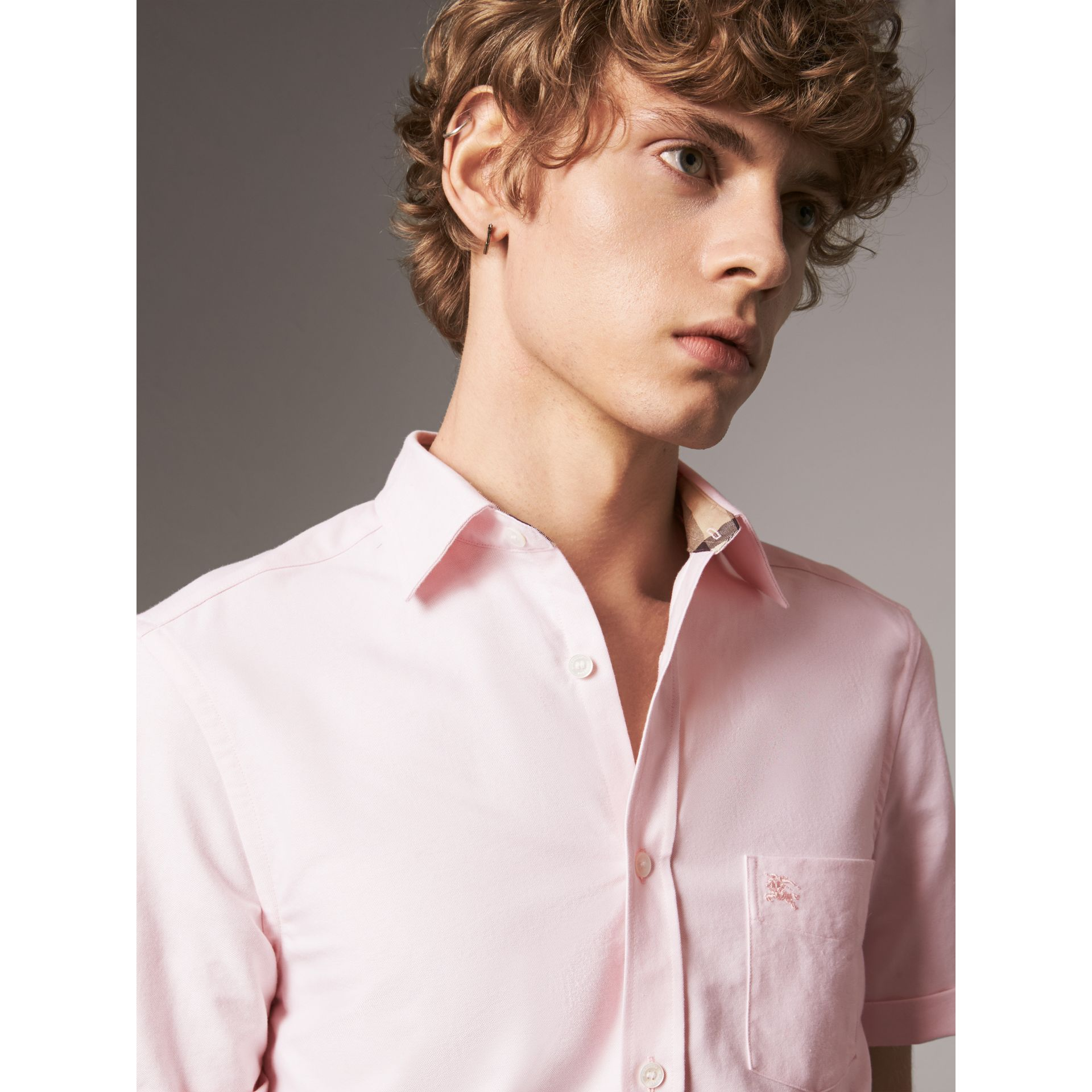 Check Detail Short-Sleeved Cotton Oxford Shirt in Pale Pink - Men | Burberry - gallery image 2