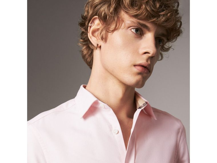 Check Detail Short-Sleeved Cotton Oxford Shirt in Pale Pink - Men | Burberry Hong Kong - cell image 1