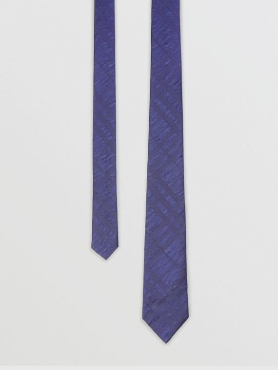 Classic Cut Check Silk Jacquard Tie in Blue