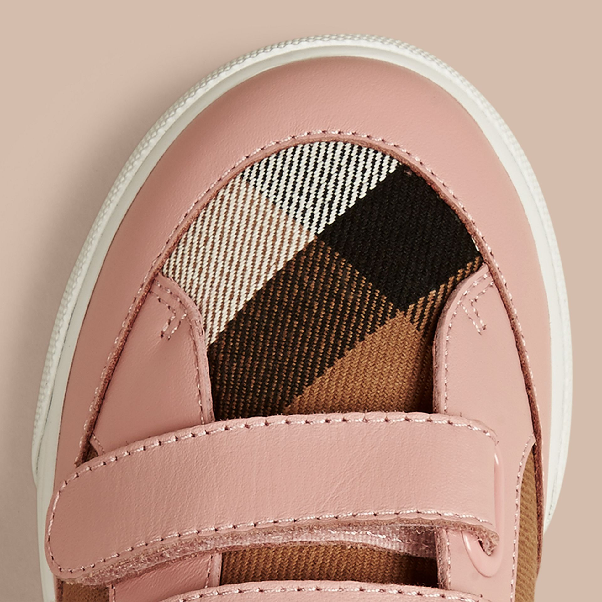 House Check and Leather Trainers in Nude Blush - Girl | Burberry - gallery image 4