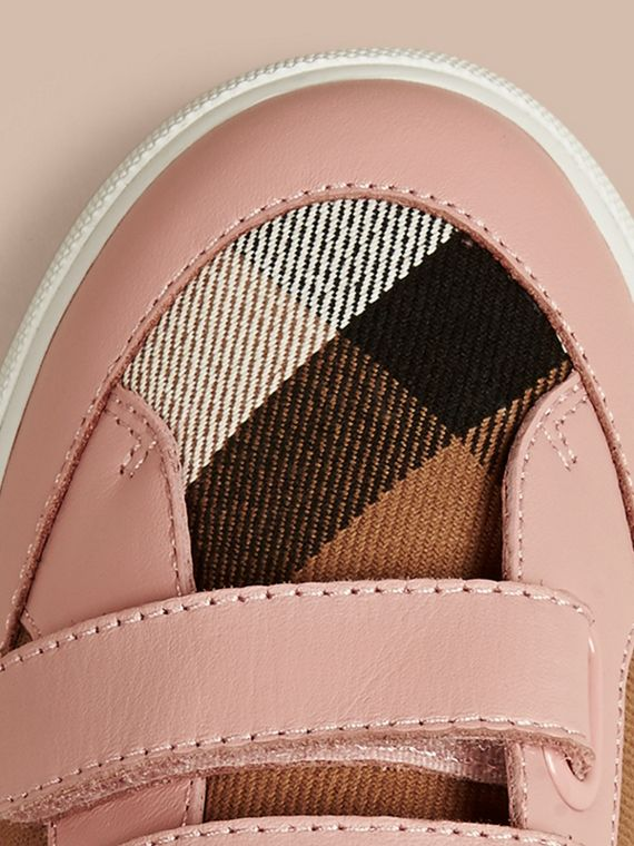House Check and Leather Trainers in Nude Blush - Girl | Burberry - cell image 3