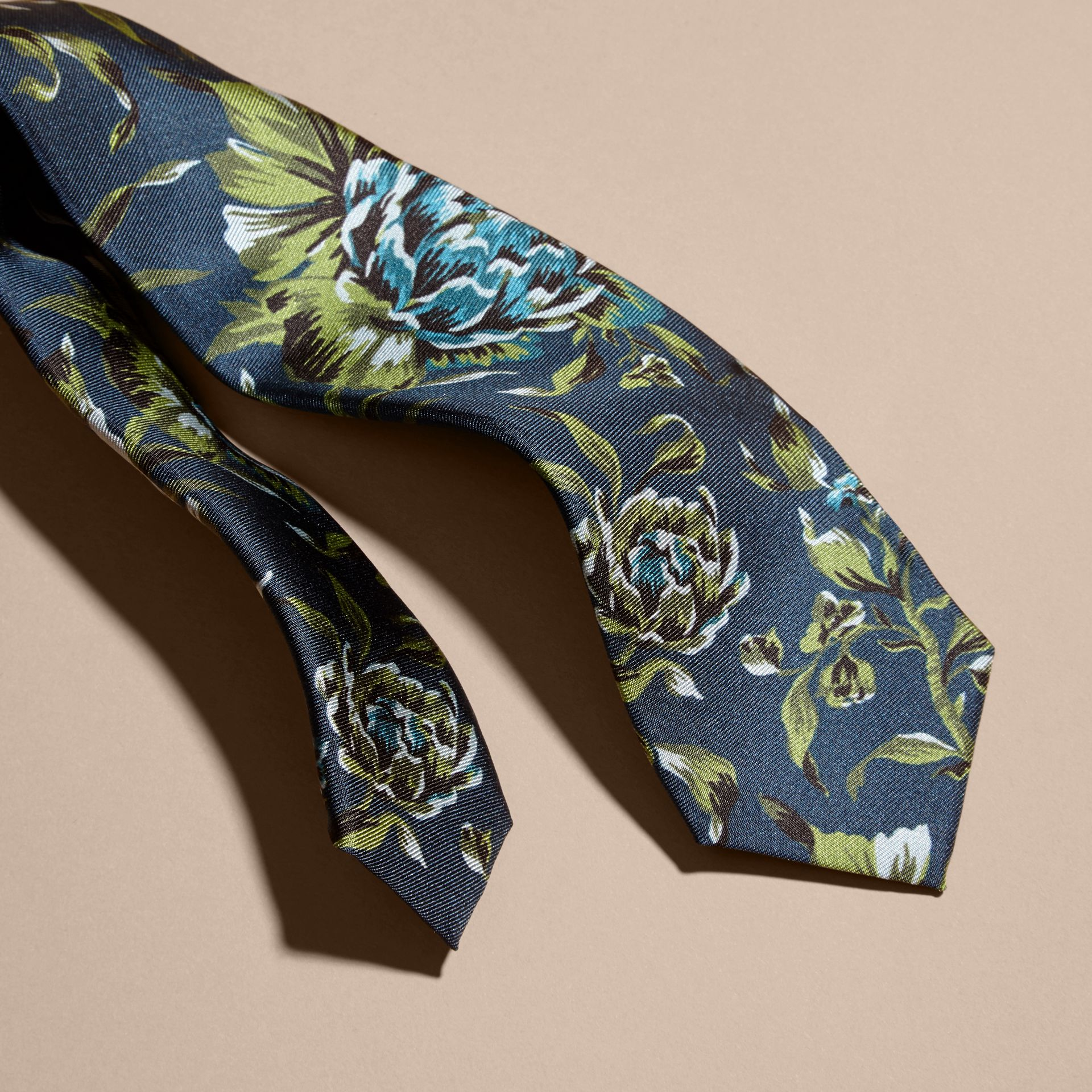 Dark teal green Slim Cut Peony Rose Print Silk Tie Dark Teal Green - gallery image 2