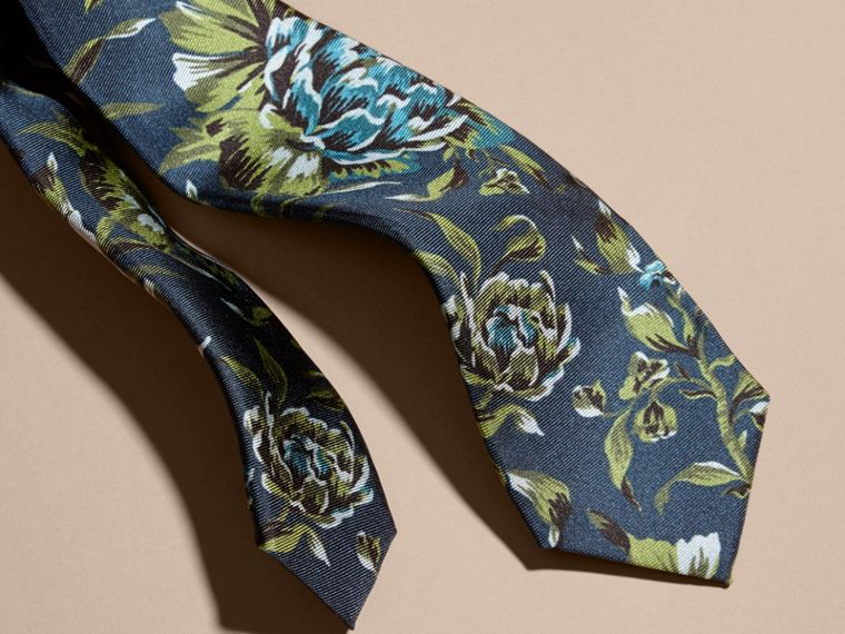 Dark teal green Slim Cut Peony Rose Print Silk Tie Dark Teal Green - cell image 1