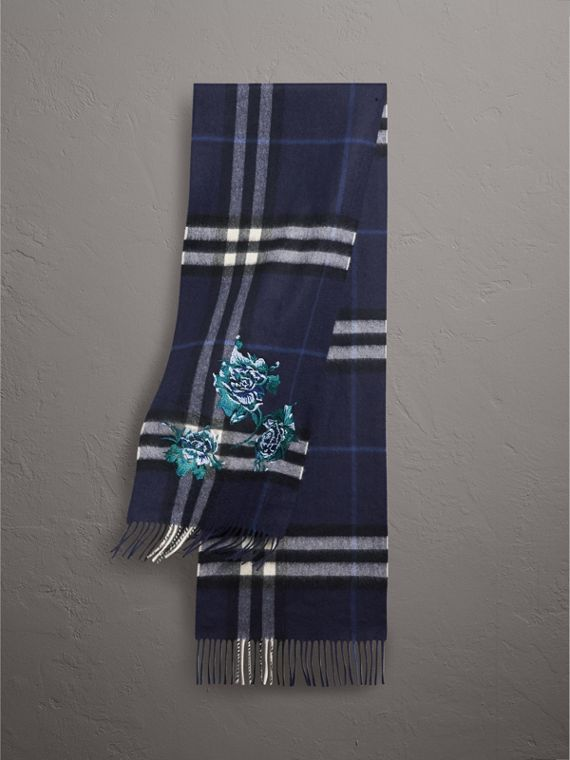 The Classic Check Cashmere Scarf in Indigo Blue
