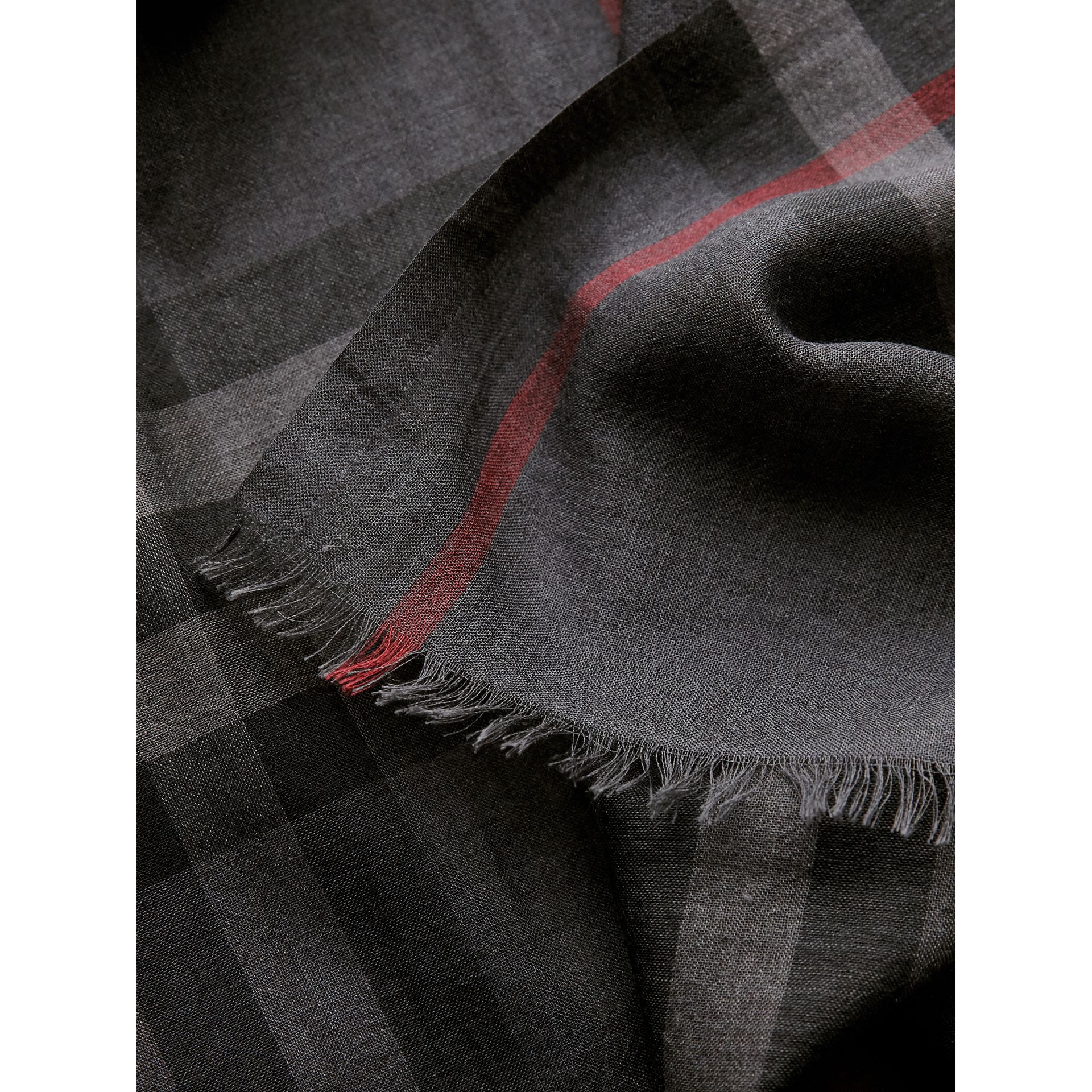 Lightweight Check Wool and Silk Scarf in Charcoal | Burberry Australia - gallery image 1