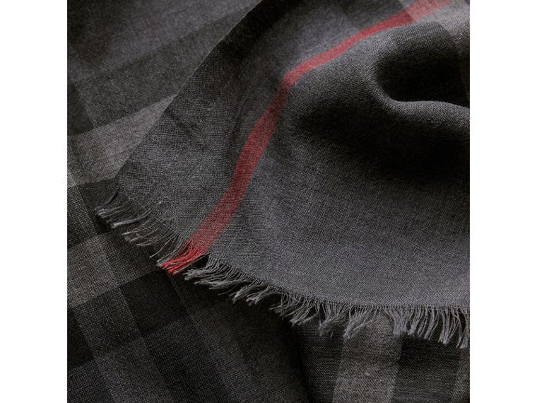 Lightweight Check Wool and Silk Scarf in Charcoal | Burberry Canada - cell image 1