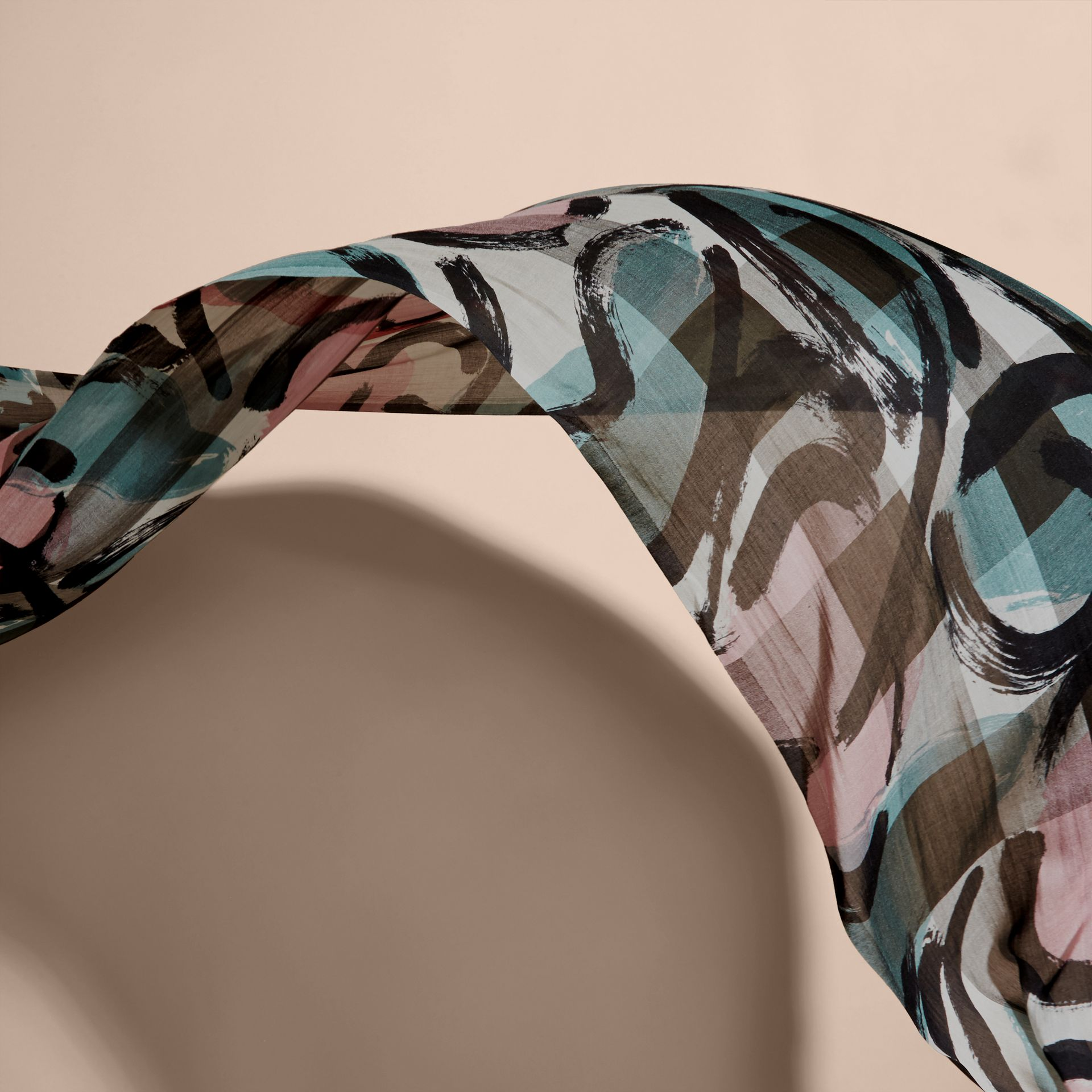 Painterly Print Check Modal, Silk and Cashmere Scarf Stone/pale Peridot Blue - gallery image 4