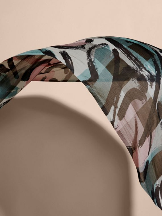 Painterly Print Check Modal, Silk and Cashmere Scarf Stone/pale Peridot Blue - cell image 3