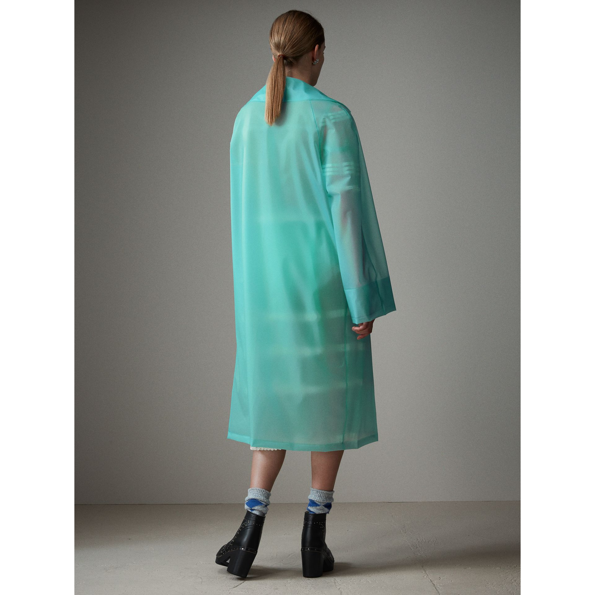 Soft-touch Plastic Car Coat in Turquoise - Women | Burberry - gallery image 3