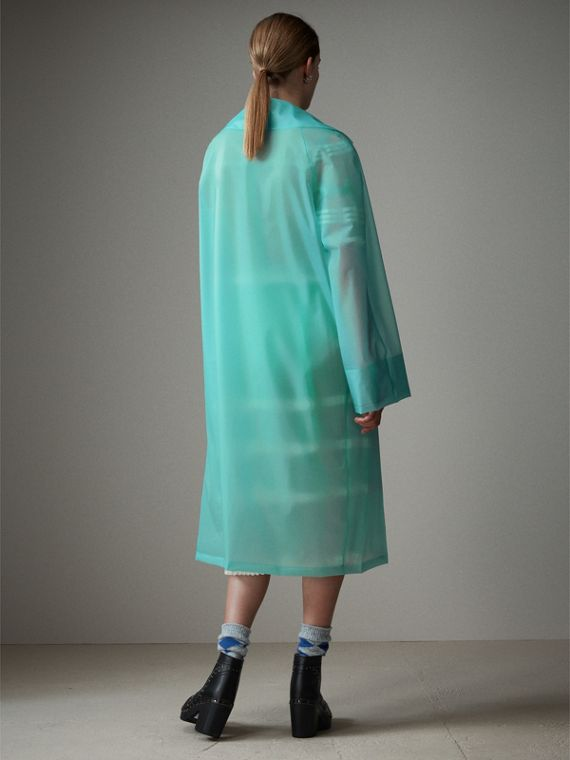 Soft-touch Plastic Car Coat in Turquoise - Women | Burberry - cell image 2