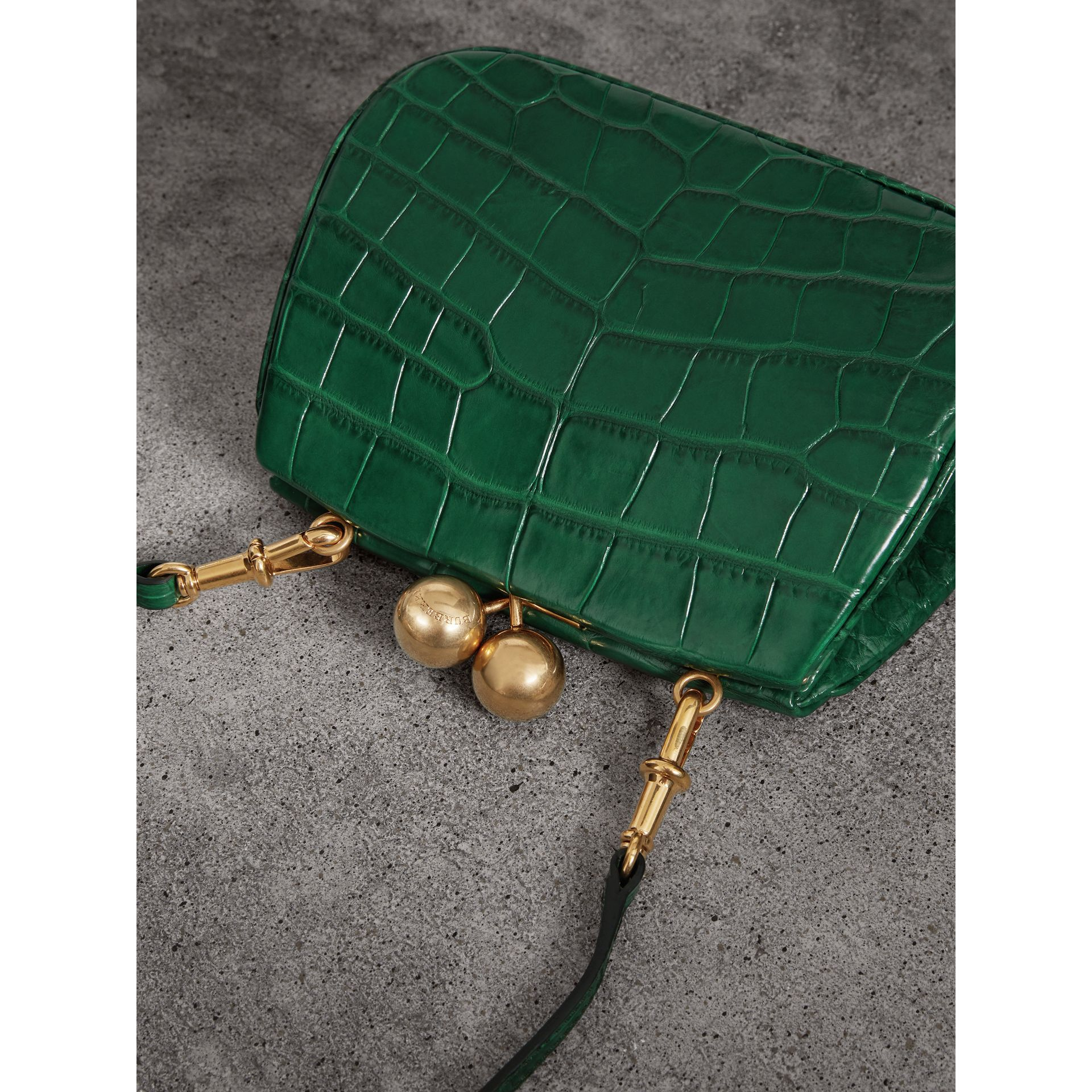 Small Alligator Metal Frame Clutch Bag in Dark Green - Women | Burberry - gallery image 4