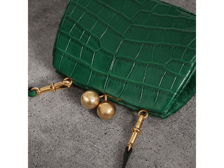 Small Alligator Metal Frame Clutch Bag in Dark Green - Women | Burberry - cell image 4