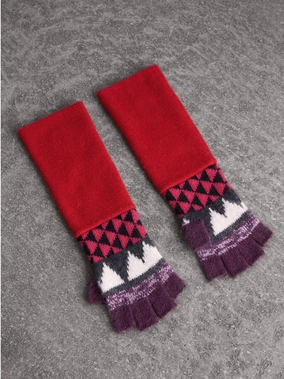 Luvas de lã e cashmere com estampa geométrica - Meio dedo (Grafite/vermelho)