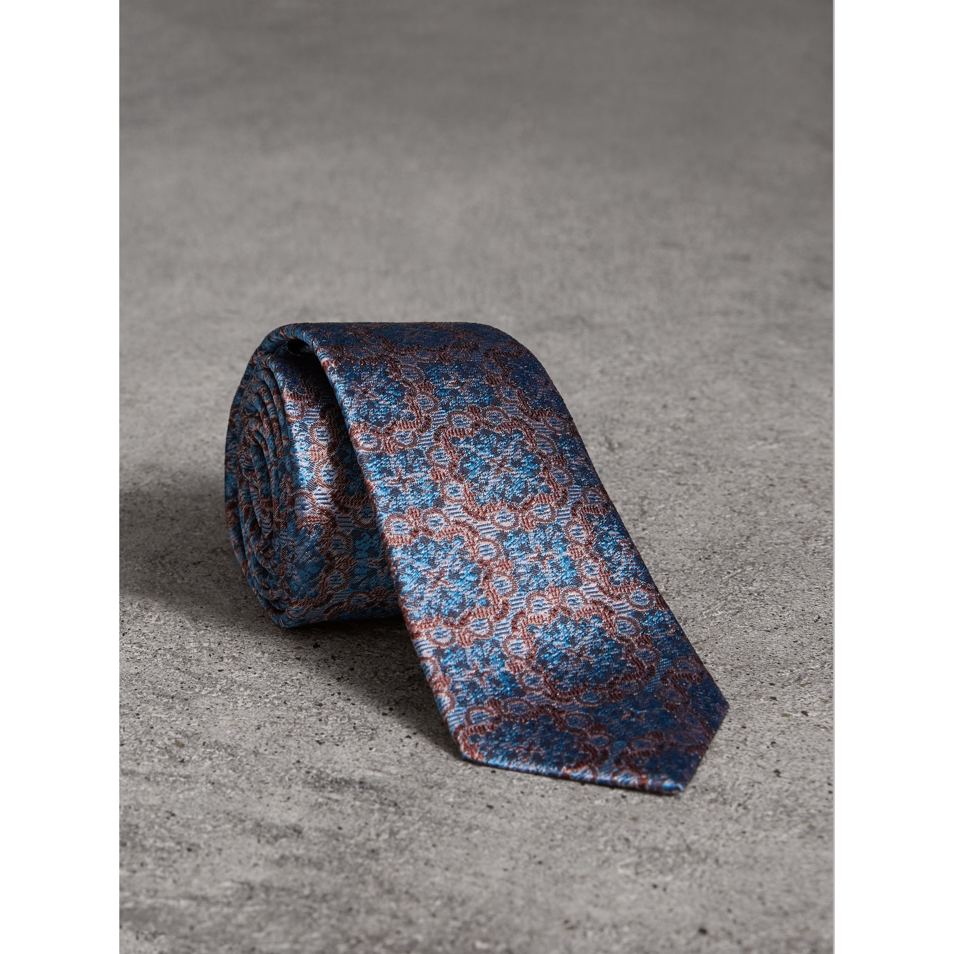 Slim Cut Silk Jacquard Tie in Hydrangea Blue - Men | Burberry - gallery image 0