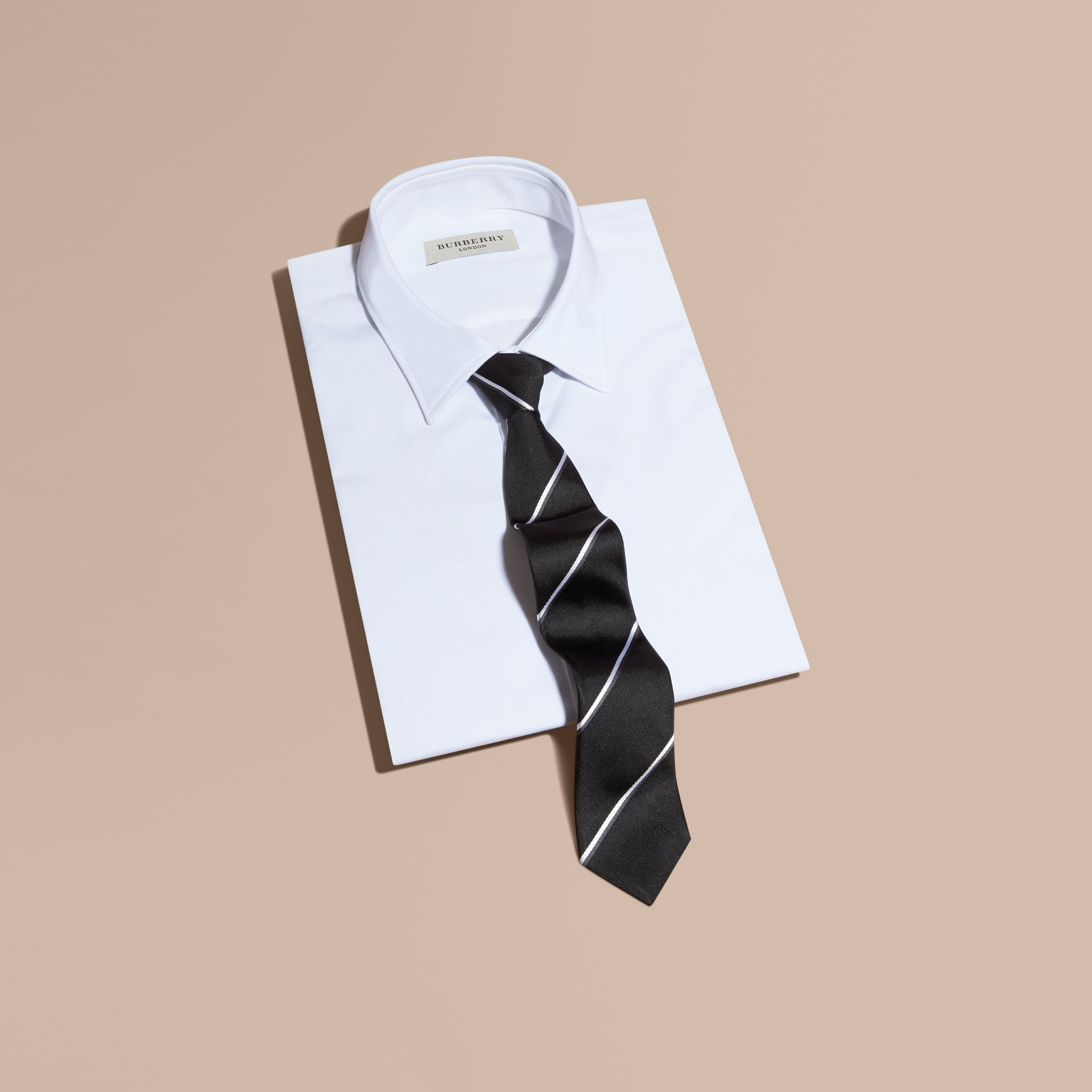 Black Slim Fit Striped Silk Tie Black - gallery image 1