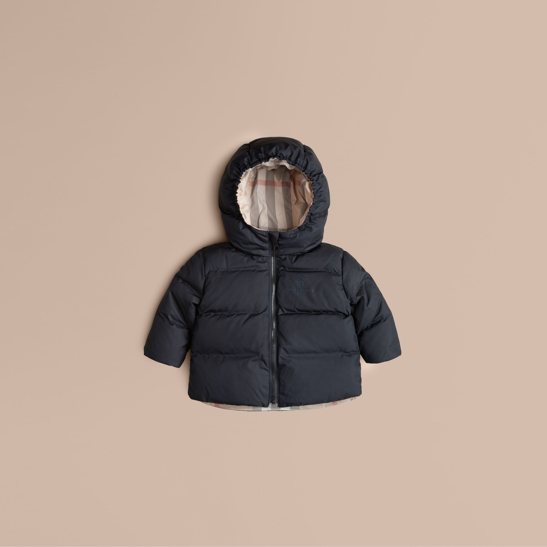 Navy Check-Lined Puffer Jacket Navy - gallery image 1