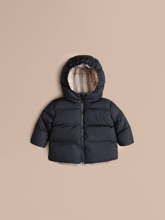 Check-Lined Puffer Jacket Navy