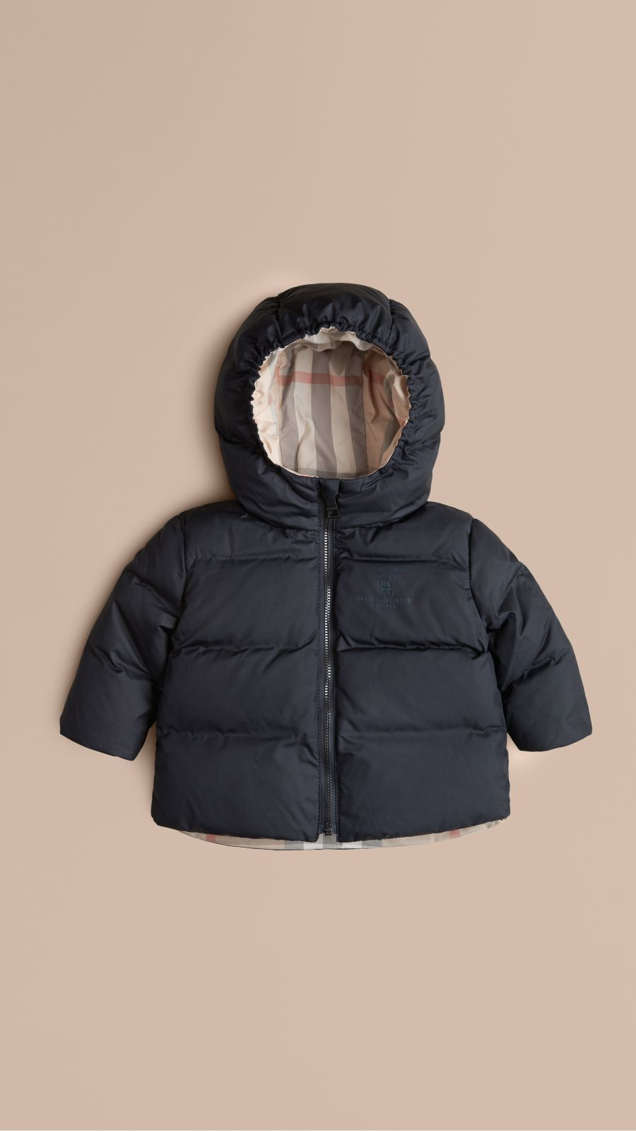 Navy Check-Lined Puffer Jacket Navy - Image 1