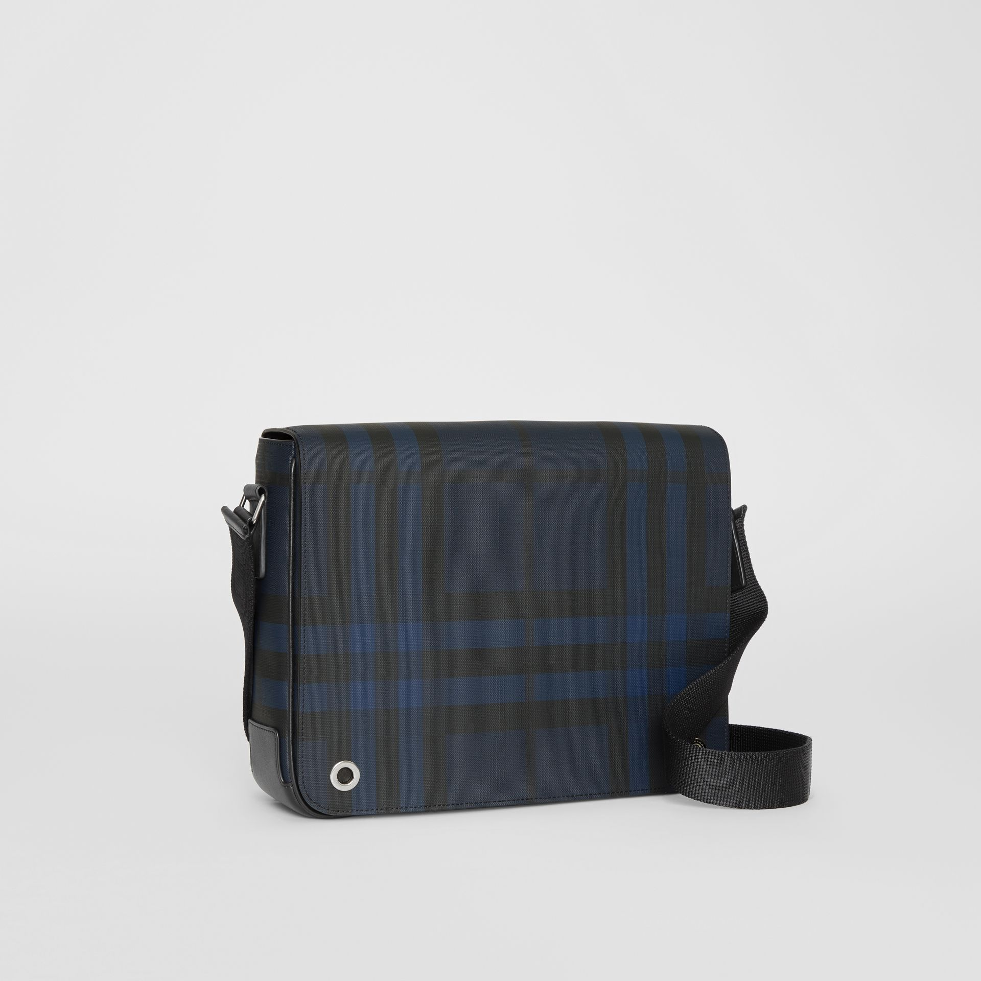 Small London Check Satchel in Navy/black - Men | Burberry - gallery image 6