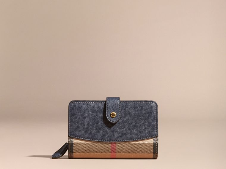 House Check and Leather Wallet in Ink Blue - cell image 1