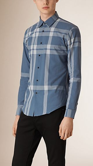 Slim Fit Textured Check Cotton Shirt