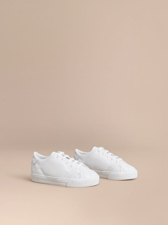 Sneakers en cuir avec ornements check | Burberry