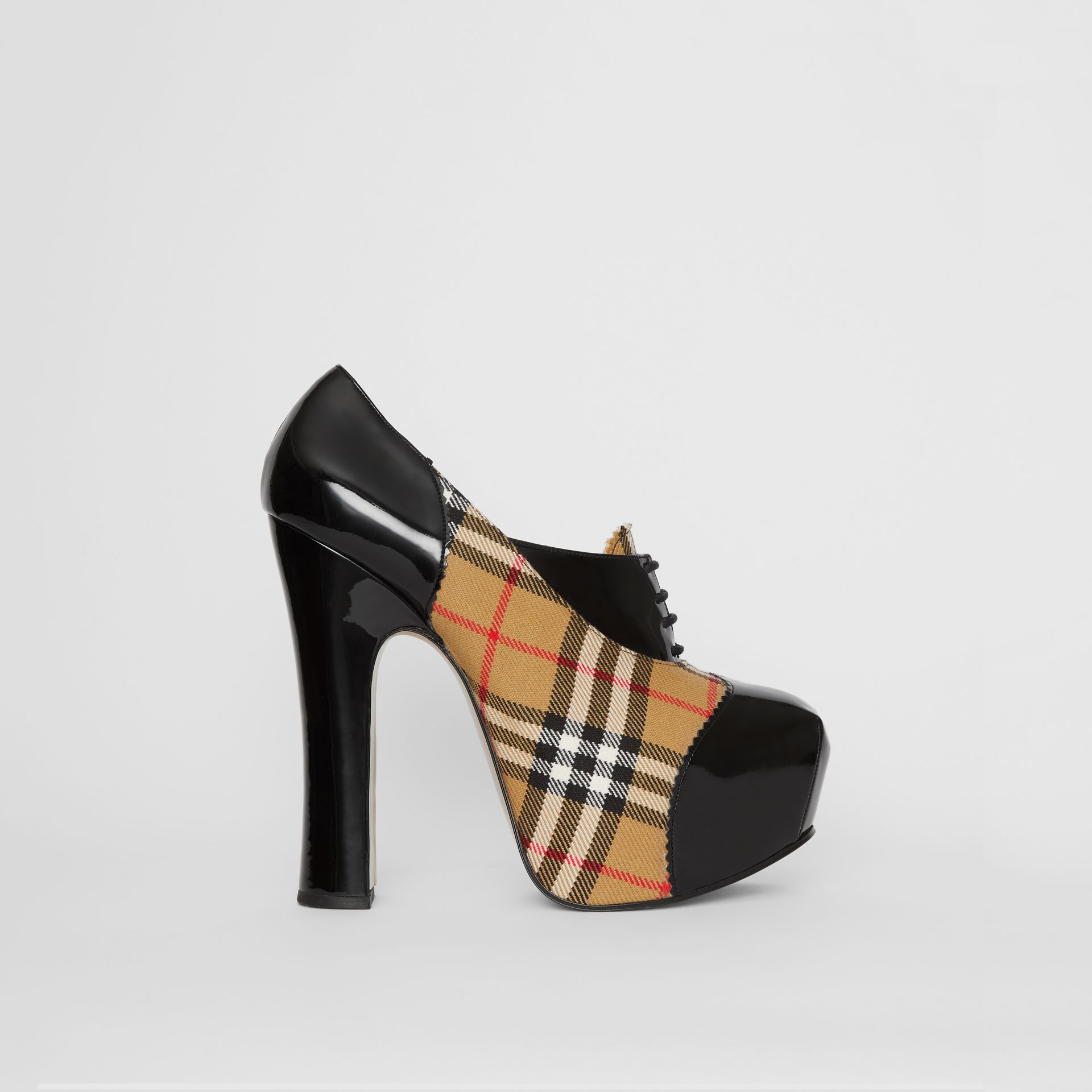 Vintage Check and Patent Lace-up Platforms in Black | Burberry - gallery image 4