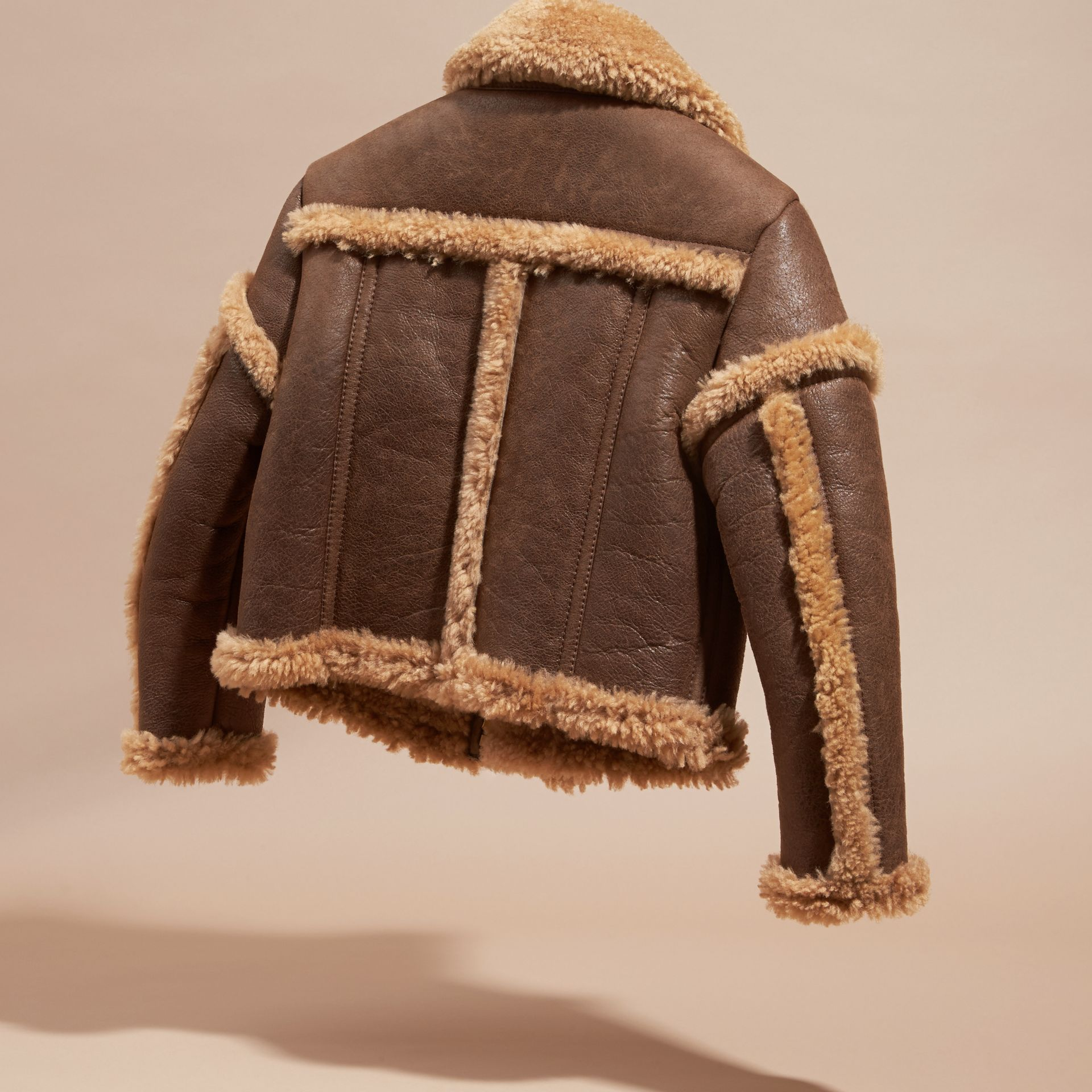 Dark tan Sculptural Shearling Flight Jacket - gallery image 4